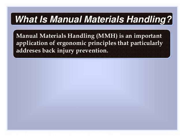 what is safe manual handling