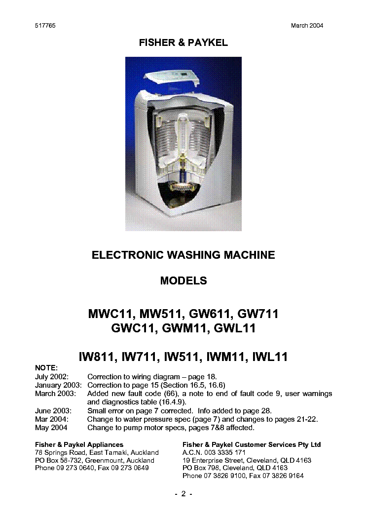 fisher and paykel gw711 service manual